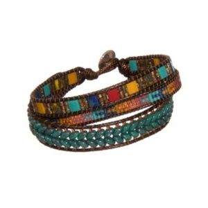 ANTHROPOLOGIE BEADED LEATHER WRAP BRACELET